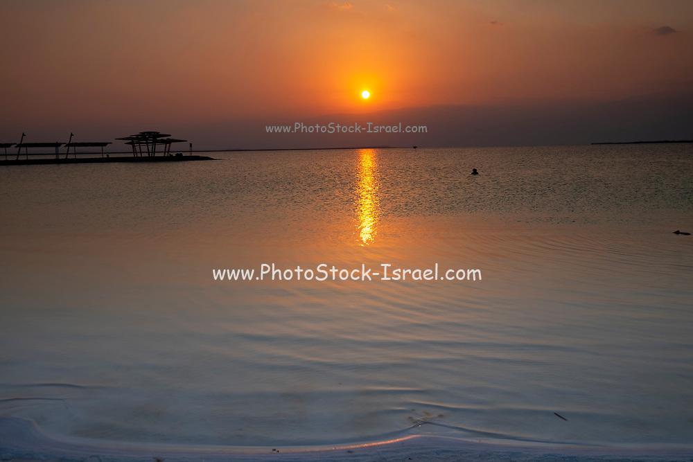 Sun set over the Dead Sea, Israel