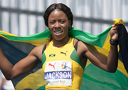 August 12, 2018 - Toronto, ON, U.S. - TORONTO, ON - AUGUST 12: Shericka Jackson (Jamaica), gold in the 200m at the 2018 North America, Central America, and Caribbean Athletics Association (NACAC) Track and Field Championships on August 12, 2018 held at Varsity Stadium, Toronto, Canada. (Photo by Sean Burges / Icon Sportswire) (Credit Image: © Sean Burges/Icon SMI via ZUMA Press)