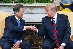 US President Donald J. Trump (R) welcomes Korean President Moon Jae-in (L) to the Oval Office of the White House in Washington, DC, USA, 11 April 2019. President Moon is expected to ask President Trump to reduce sanctions on North Korea in an attempt to jump start nuclear negotiations between North Korea and the US.