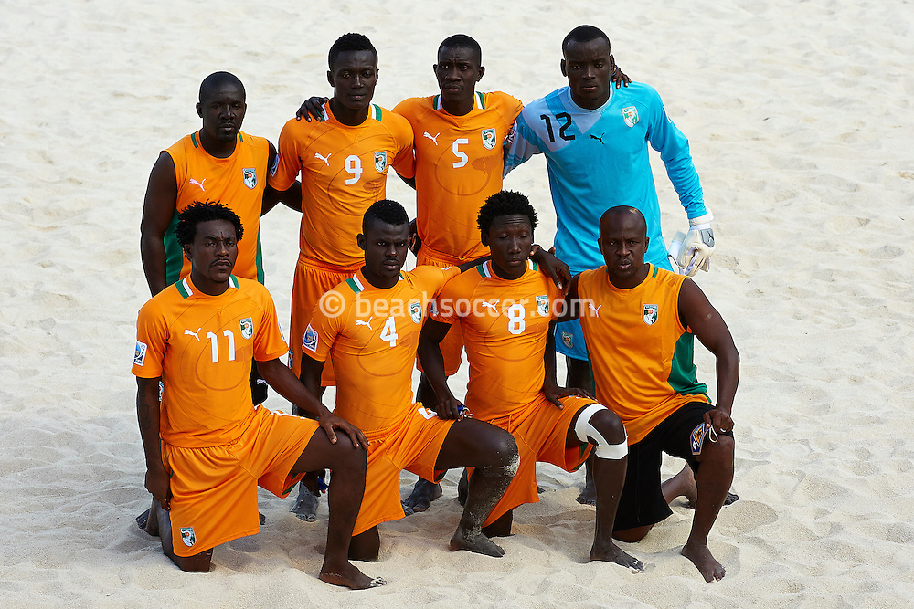 PAPEETE, TAHITI - OCTOBER 22:  FIFA Beach Soccer World Cup Tahiti 2013 between Japan and Cote D`Ivoire  at Stadium Tahua To´ata  on October 22, 2013 in Papeete, Tahiti. (Photo by Manuel Queimadelos)