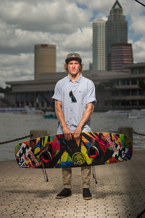 Raf Derome Poses for a Portrait at RedBull Wake Open in Tampa, Florida on July 13th, 2012.