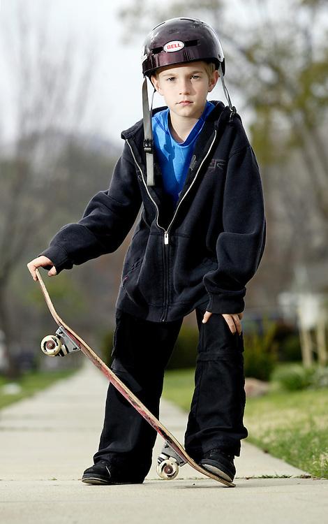 Casey Bigelow, 10, loves to skateboard.