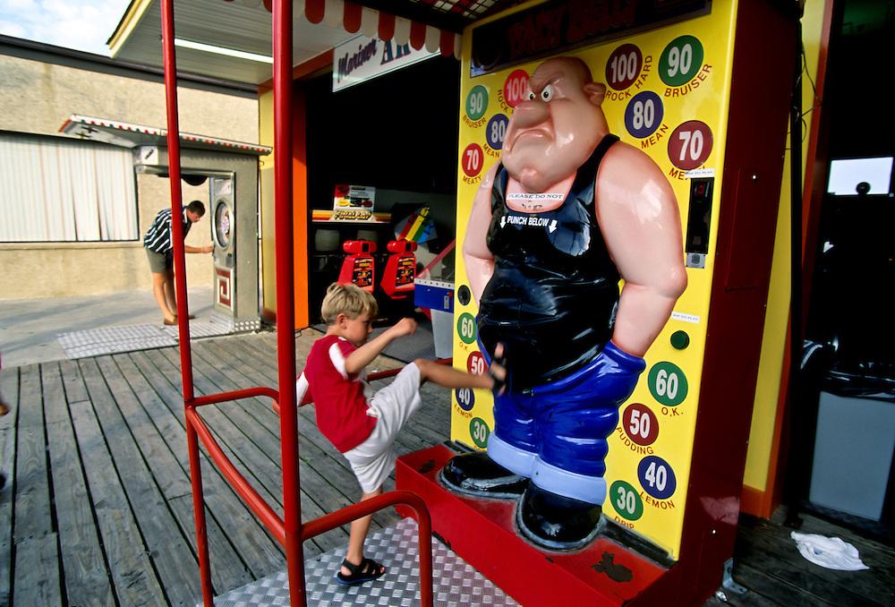 An amusement park along boardwalk on the Jersey Shore.