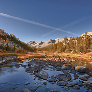 Digital composite of Rock Creek and surounding mountains. Area is close to Tom's Place CA