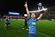 Otere Black celebrates with the trophy.<br /> Blues v Highlanders, Sky Super Rugby Trans-Tasman Final. Eden Park, Auckland. New Zealand. Saturday 19 June 2021. © Copyright Photo: Andrew Cornaga / www.photosport.nz