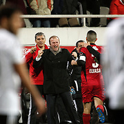 Gaziantepspor's coach Abdullah Ercan (C) celebrate goal during their Turkish superleague soccer match Besiktas between Gaziantepspor at BJK Inonu Stadium in Istanbul Turkey on Tuesday, 05 January 2012. Photo by TURKPIX