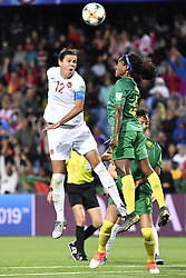6?10?????????????????????????????????????.Christine Sinclair (L) of Canada vies with Yvonne Leuko (R) of Cameroon during..???????????????2019?6?11?.?????????——E??????????????.?????????????2019??????????E???????????1?0??????.?????????..(SP)FRANCE-RENNES-2019 FIFA WOMEN'S WORLD CUP-GROUP E-CANADA VS CAMEROON..(190611) -- MONTPELLIER, June 11, 2019  the group E match between Canada and Cameroon at the 2019 FIFA Women's World Cup in Montpellier, France on June 10, 2019. Canada won 1-0. (Credit Image: © Xinhua via ZUMA Wire)