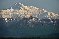 The south peak of Denali seen from the Susitna river valley.  This view is the highest point that can be seen from the lowest point at a reasonably close distance for the naked eye anywhere on earth, with the peak being just under 20,000ft (6000m) higher than where the photo was taken from.