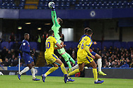Jamie Cumming of Chelsea (52) saving cross during the EFL Trophy match between U21 Chelsea and AFC Wimbledon at Stamford Bridge, London, England on 4 December 2018.