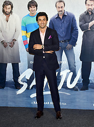 April 24, 2018 - Mumbai, India - Indian film actor Ranbir Kapoor pose while the film Sanju's teaser launch at PVR, Juhu in Mumbai. (Credit Image: © Azhar Khan/SOPA Images via ZUMA Wire)