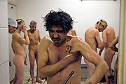 Moscow, Russia, 18/01/2006..Homeless men rescued from freezing conditions on the city streets are showered by staff at a disinfection centre for the homeless. A Siberian weather front has brought temperatures down to minus 36C in the Russian capital and led to power cuts in the city.