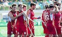 RIO DE JANEIRO  (Brazilië) -  Cédric Charlier (Belg.) has scored 4-1 and celebrates with Florent Van Aubel (Belg.) , during the poule match hockey men Belgium v Great Britain (4-1),    Olympic Games 2016 . Copyright Koen Suyk