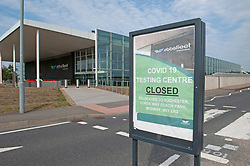 ©Licensed to London News Pictures 16/09/2020  <br /> Ebbsfleet, UK. Covid 19 closed sign. Ebbsfleet international main building. Ebbsfleet international Covid 19 testing site has closed suddenly in Ebbsfleet, Kent.<br /> The site will now be used for Boris Johnson's Government Brexit plan as HMRC require the site for EU exit. Its believed the site will be a lorry park for freight heading to Dover. Photo credit:Grant Falvey/LNP