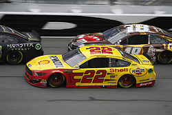 February 10, 2019 - Daytona, FL, U.S. - DAYTONA, FL - FEBRUARY 10:Joey Logano, Team Penske, Ford Mustang Shell Pennzoil (22),Kyle Busch, Joe Gibbs Racing, Toyota Camry M&M's Chocolate Bar (18)  during the running of the Advance Auto Parts Clash on February 10, 2019 at Daytona International Speedway in Daytona Beach, Florida  (Photo by Jeff Robinson/Icon Sportswire) (Credit Image: © Jeff Robinson/Icon SMI via ZUMA Press)