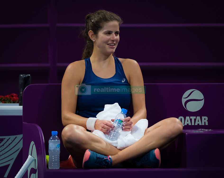February 8, 2019 - Doha, QATAR - Julia Goerges of Germany practices ahead of the 2019 Qatar Total Open WTA Premier tennis tournament (Credit Image: © AFP7 via ZUMA Wire)