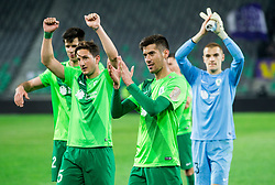 Marko Vukcevic of NK Olimpija, Mario Jurcevic of NK Olimpija and Rok Vodisek of NK Olimpija celebrate after the football match between NK Olimpija and NK Maribor in Round #31 of Prva liga Telekom Slovenije 2016/17, on April 29, 2017 in SRC Stozice, Ljubljana, Slovenia. Photo by Vid Ponikvar / Sportida