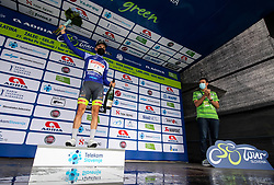 Winner in mountain classification Kenny MOLLY of BINGOAL PAUWELS SAUCES celebrates at trophy ceremony after the 3rd Stage of 27th Tour of Slovenia 2021 cycling race between Brezice and Krsko (165,8 km), on June 11, 2021 in Slovenia. Photo by Vid Ponikvar / Sportida