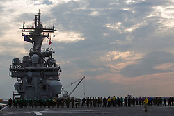 U.S. Marines with the 26th Marine Expeditionary Unit (MEU), and Sailors conduct a foreign object and debris walk-down during departure aboard the USS Kearsarge (LHD 3) at Naval Station Norfolk, Va., Aug. 31, 2017. Approximately 690 Marines from the 26th MEU embarked aboard the USS Kearsarge (LHD 3) as part of prudent measures in anticipation of future tasking to support relief in the aftermath of Hurricane Harvey. (U.S. Marine Corps photo by Lance Cpl. Santino D. Martinez)  Please note: Fees charged by the agency are for the agency's services only, and do not, nor are they intended to, convey to the user any ownership of Copyright or License in the material. The agency does not claim any ownership including but not limited to Copyright or License in the attached material. By publishing this material you expressly agree to indemnify and to hold the agency and its directors, shareholders and employees harmless from any loss, claims, damages, demands, expenses (including legal fees), or any causes of action or allegation against the agency arising out of or connected in any way with publication of the material.