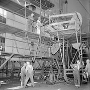 ackroyd-P244-22 Swan Island ship repair yard October 3, 1966. Sandblasting and painting ship Sequin.