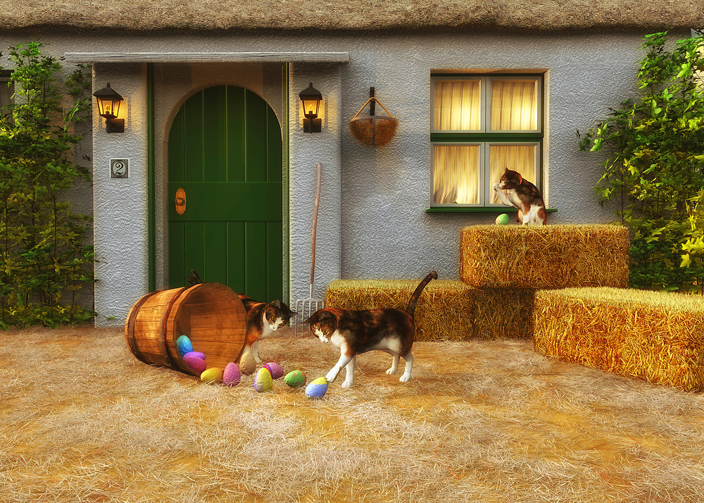 Perfect for those who love Easter, this charming country scene depicts a series of cats in front of a small country home. Bales of hay are nearby. It is a warm, perfect afternoon, and these cats are certainly curious about the basket of Easter eggs that have been left in the yard! Clearly, the cats have already tipped over the basket, causing a bright batch of beautiful eggs to spill out onto the grass. Their curiosity hasn't been sated. They continue to study the eggs carefully. It is unlikely they are ever going to understand what the eggs are for. .<br />