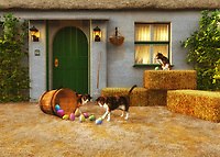 Perfect for those who love Easter, this charming country scene depicts a series of cats in front of a small country home. Bales of hay are nearby. It is a warm, perfect afternoon, and these cats are certainly curious about the basket of Easter eggs that have been left in the yard! Clearly, the cats have already tipped over the basket, causing a bright batch of beautiful eggs to spill out onto the grass. Their curiosity hasn't been sated. They continue to study the eggs carefully. It is unlikely they are ever going to understand what the eggs are for. .<br /> <br /> BUY THIS PRINT AT<br /> <br /> FINE ART AMERICA<br /> ENGLISH<br /> https://janke.pixels.com/featured/kittens-discovering-easter-jan-keteleer.html<br /> <br /> WADM / OH MY PRINTS<br /> DUTCH / FRENCH / GERMAN<br /> https://www.werkaandemuur.nl/nl/shopwerk/Katten---Kittens-ontdekken-Pasen/437027/134
