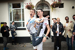 "© Licensed to London News Pictures . 22/08/2014 .  Manchester , UK . L-R John Wayne (20 from Ancoats) and Brian Dolan (27 from Weaste) on Canal Street . Manchester Pride "" Big Weekend "" in Manchester's "" Gay Village "" today ( 22nd August 2014 ) . Photo credit : Joel Goodman/LNP"