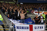 The Sheffield Wednesday supporters appear to enjoy their 1-1 draw.   EFL Skybet championship match, Cardiff city v Sheffield Wednesday at the Cardiff city stadium in Cardiff, South Wales on Wednesday 19th October 2016.<br /> pic by Andrew Orchard, Andrew Orchard sports photography.