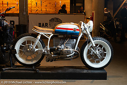 Jeremy Hutch's completely handbuilt (other than the motor and motor cradle) Hutchbilt custom 1979 BMW R80 at the Handbuilt Show. Austin, TX. USA. Sunday April 22, 2018. Photography ©2018 Michael Lichter.