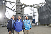 SHOT 10/29/18 9:54:49 AM - Sunrise Cooperative is a leading agricultural and energy cooperative based in Fremont, Ohio with members spanning from the Ohio River to Lake Erie. Sunrise is 100-percent farmer-owned and was formed through the merger of Trupointe Cooperative and Sunrise Cooperative on September 1, 2016. Photographed at the Clyde, Ohio grain elevator was George D. Secor President / CEO and John Lowry<br /> Chairman of the Board of Directors with  CoBank RM Gary Weidenborner. (Photo by Marc Piscotty © 2018)