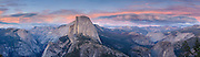 Sunset panorama view from Glacier Point in Yosemite National Park, California