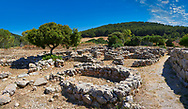 Pictures and image of the exterior ruins of Palmavera round prehistoric Nuragic village archaeological site, middle Bronze age (1500 BC), Alghero, Sardinia. .<br /> <br /> If you prefer you can also buy from our ALAMY PHOTO LIBRARY  Collection visit : https://www.alamy.com/portfolio/paul-williams-funkystock/palmavera-nuraghe-sardinia.html<br /> Visit our PREHISTORIC PLACES PHOTO COLLECTIONS for more   photos  to download or buy as prints https://funkystock.photoshelter.com/gallery-collection/Prehistoric-Neolithic-Sites-Art-Artefacts-Pictures-Photos/C0000tfxw63zrUT4