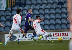 Raith Rovers Lewis Toshney (5) scoring their goal. <br /> Raith Rovers v Hibernian, Scottish Championship game player at Stark's Park, 18/3/2016.