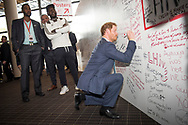 21st International AIDS Conference (AIDS 2016), Durban, South Africa.<br /> Photo shows HRH Price Harry at the HIV Protest Wall.<br /> Photo©International AIDS Society/Steve Forrest/Workers' Photos