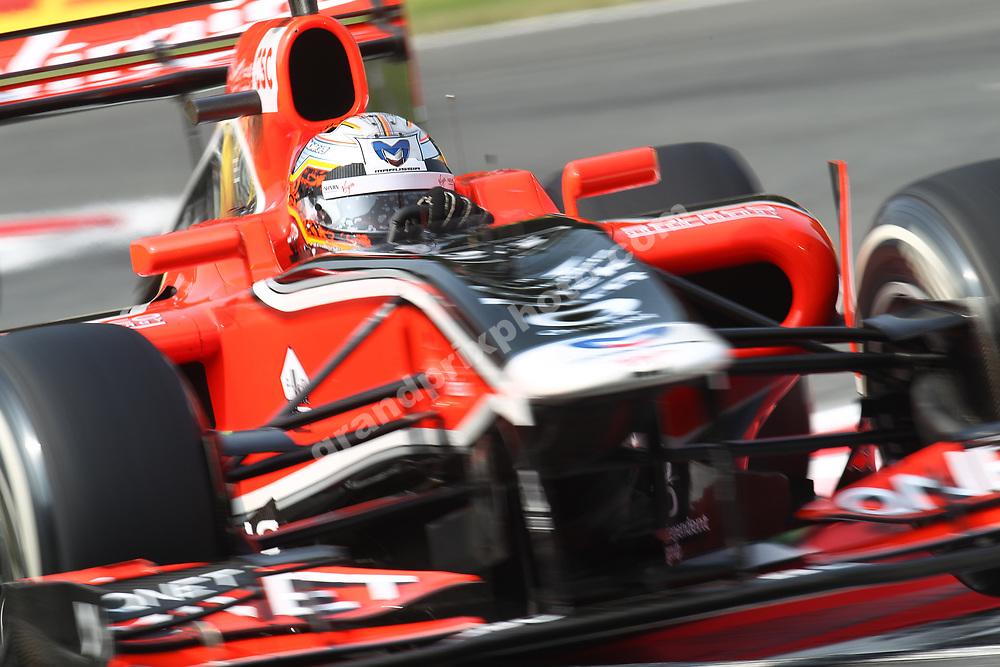 Jerome D Ambrosio (Virgin-Cosworth) during practice for the 2011 Italian Grand Prix in Monza. Photo: Grand Prix Photo