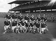 Neg No: .A801/4571-4583,...7091958AISHCF,..07.09.1958, 09.07.1958, 7th September 1958,.All Ireland Senior Hurling Championship - Final,...Tipperary.04-09,.Galway.02-05,...Galway Team.Back row (from left) Jim Fives, Mick Sweeney, Joe Young, P J Lawless, P J Lally, Tommy Kelly, Pakie Burke. Front row (from left) Fintan Spillane, Joe Salmon, Jamsey Duggan, Seamus Cullinane, Tim Sweeney, Fergus Benson, Tom Conway, Billy O'Neill,