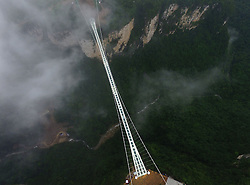 September 2, 2016 - Zhangjiajie, Hunan, China - The glass bridge of the grand canyon stopped receiving tourists without recovery time for better reception in Zhangjiajie,Hunan,China on 2nd September 2016. (Credit Image: © TPG via ZUMA Press)