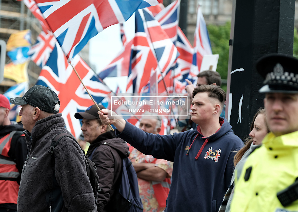 All Under One Banner Independence March, Glasgow, Saturday 4th May 2019<br /> <br /> Pictured: A counter demonstration was organised by Holocaust Denyer Alistair McConnachie<br /> <br /> Alex Todd   Edinburgh Elite media