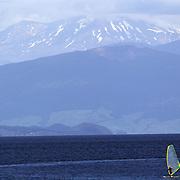 A windsurfer on the water at Lake Taupo. Taupo, New Zealand,, 7th January 2011. Photo Tim Clayton