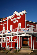 The Downtown Hotel in the historic gold rush town of Dawson City, Yukon Territory, Canada.