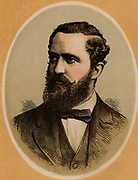 Frederick Arthur Stanley (1841-1908) 16th Earl of Derby, English Conservative politician. Known as Frederick Stanley until 1886 when he was created Baron Stanley of Preston, and Earl of Derby after the death of his older brother in 1893. Secretary of State for the Colonies (1885-1886). Governor General of Canada (1888-1893).  Colour-printed wood engraving.