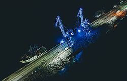 THEMENBILD - beleuchtete Schiffskräne im Hafen bei Nacht, aufgenommen am 12. August 2019 in Rijeka, Kroatien // illuminated ship cranes at night at the harbour of Rijeka, Croatia on 2019/08/12. EXPA Pictures © 2019, PhotoCredit: EXPA/ JFK