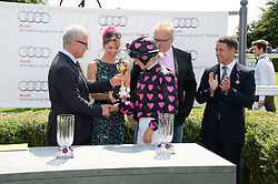 JON ZAMMETT, DARCEY BUSSELL, racehorse owners ANDREW BLACK and MICHAEL OWEN and PHILIPPA HOLLAND winner of the Magnolia Cup 2013 at the 3rd day of the 2013 Glorious Goodwood racing festival - Ladies day at Goodwood Racecourse, West Sussex on 1st August 2013.