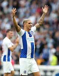 Brighton & Hove Albion's Anthony Knockaert celebrates after the final whistle during the Premier League match at the AMEX Stadium, Brighton.