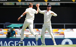England's Stuart Broad celebrates the wicket of Cameron Bancroft during day two of the Ashes Test match at The Gabba, Brisbane.