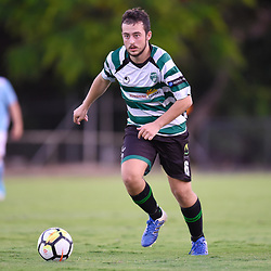 BRISBANE, AUSTRALIA - JANUARY 9: Greg Gourley of Souths in action during the Kappa Silver Boot Group B match between Brisbane City and Souths United on January 9, 2018 in Brisbane, Australia. (Photo by Patrick Kearney)