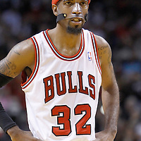 29 January 2012: Chicago Bulls shooting guard Richard Hamilton (32) rests during the Miami Heat 97-93 victory over the Chicago Bulls at the AmericanAirlines Arena, Miami, Florida, USA.