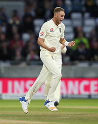 File photo dated 19-08-2017 of England's Stuart Broad celebrates taking the wicket of West Indies Shane Dowrich during day three of the First Investec Test match at Edgbaston, Birmingham.