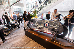 A custom BMW-R-1200 R named Spitfire built by VTR Motorrad of Switzerland and raced by BMW marketing specialist Amelie Mooseder at the Swiss-Moto Customizing and Tuning Show. Zurich, Switzerland. Sunday, February 24, 2019. Photography ©2019 Michael Lichter.