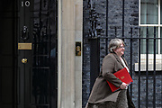 March 17, 2020, London, England, United Kingdom: Work and Pensions Secretary Therese Coffey leaves Downing Street, London, on Tuesday, Mar 17, 2020 - the day after Prime Minister Boris Johnson called on people to stay away from pubs, clubs and theatres, work from home if possible and avoid all non-essential contacts and travel in order to reduce the impact of the coronavirus pandemic. (Credit Image: © Vedat Xhymshiti/ZUMA Wire)