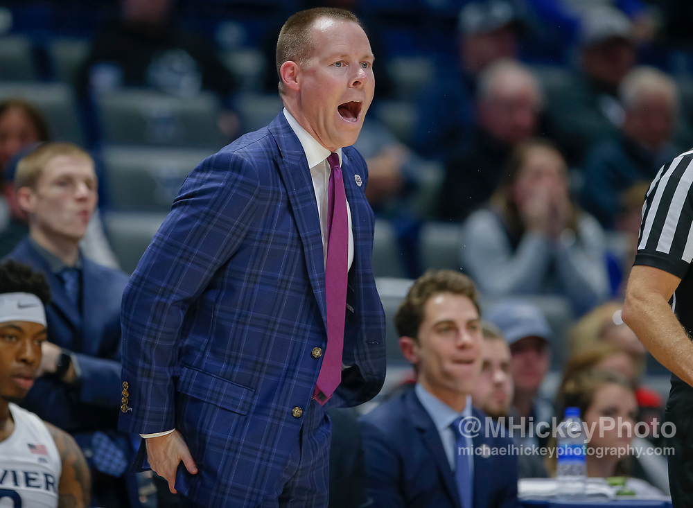 CINCINNATI, OH - NOVEMBER 13: Head coach Travis Steele of the Xavier Musketeers is seen during the game against the Wisconsin Badgers at Cintas Center on November 13, 2018 in Cincinnati, Ohio. (Photo by Michael Hickey/Getty Images) *** Local Caption *** Travis Steele